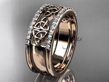 14kt rose gold diamond celtic trinity knot wedding band, brIdal ring CT7406B