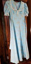 Vintage 70s M L Blue with pink floers Prairie Boho Maxi Dress Empire Tie Waist