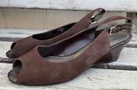 Easy Spirit Suede Leather Peep Toe Slingback Wedges Sandals ESLYLA Brown Size 9M