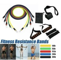 11PCS Yoga Pilates Resistance Band Set Abs Exercise Fitness Tube Workout Bands
