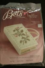 Betts Plastic Canvas Needlepoint Kit Book Bible Cover Rose Handle Vintage