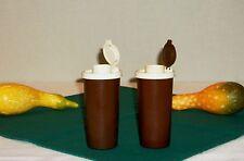 Tupperware vtg Chocolate Brown S&P Shakers ~ Salt Pepper Spice Cinnamon Sugar