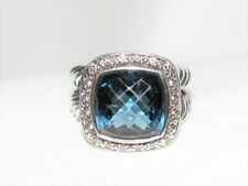 Authentic DAVID YURMAN Albion Sterling 11mm Blue Topaz & Diamond Ring Cable Sz 6