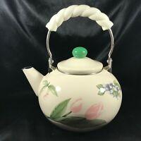 Vintage Enamelware Tulip White Twist Handle Tea Kettle