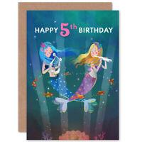 Mermaid Music Birthday 5Th Blank Greeting Card With Envelope
