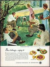 1950 Douglass Crockwell art U S Beer Brewer's Boat painting retro print ad adL9