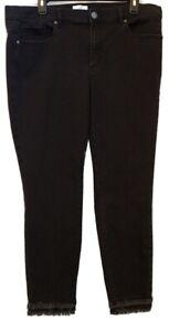 Loft Size 16 Black Modern Skinny Jeans Double Raw Hems