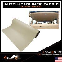 """60""""x60"""" Beige Headliner Fabric Auto Interior Roof Ceiling Repaired Material DIY"""