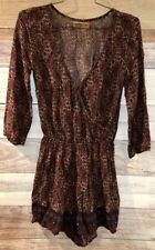 Hollister Women's Red Floral Deco Cross Front Romper XS 3/4 Sleeves LBB76