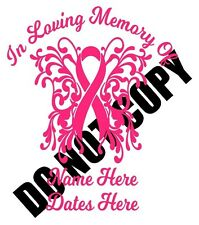 In Loving Memory of  Cancer Ribbon Custom Car Vinyl Decal Window Sticker Cute