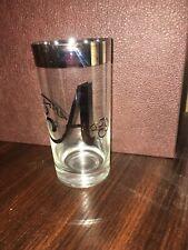 "6 Vintage Dorothy Thorpe Tumbler Glass Set - Silver Rim - Monogram Initial ""A"""