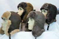 4 COLORS REAL SHEEPSKIN SHEARLING LEATHER FUR HAT Bomber Trapper Ushanka M-3XL