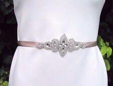 Beige Nude Silver Diamante Rhinestone Dress Belt Sash Bridesmaid Bridal Vtg 3343