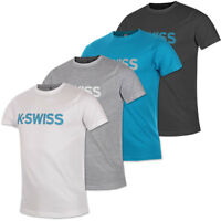K-Swiss Men's Spell Out T-Shirt 100% Cotton Short Sleeved Casual Tennis Top