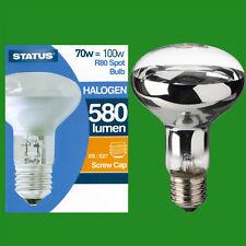 2x 70W (=100W) Halogen R80 Dimmable Clear Reflector Spot Light Lamp ES E27 Bulb