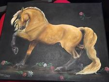 HORSE HAND PAINTED CANVAS STRETCHED 14 X 11 READY TO HANG