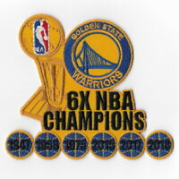 6X NBA Champions Golden State Warriors Iron on Patches Larry O'Brien Patch Badge