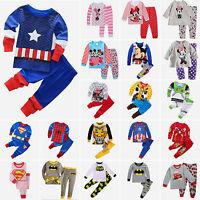 Kids Girls Boys Superhero Mickey Pajamas T-Shirt + Pants Sleepwear Outfits Set