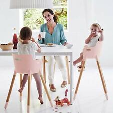 Adjustable Wooden High Chair Baby Feeding Highchair w removable tray Convertible