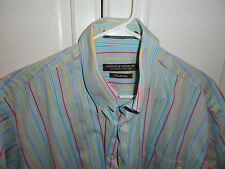 FORSYTH OF CANADA MENS SHORT SLEEVE STRIPE SHIRT  L  >>GR8 COLORS<< >>MUST SEE<<