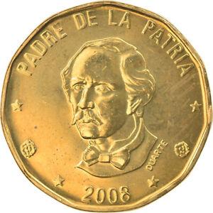 [#793401] Coin, Dominican Republic, Peso, 2008, MS(63), Brass, KM:80.2