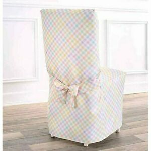 Spring Splendor Gingham Dining Room Chair Cover in Multicolor, NEW