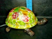 VINTAGE TURTLE LAMP STATUE SCULPTURE CAST STAIN GLASS LIGHT -  LAMP, NITE LIGHT