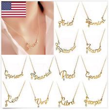 Womens New Fashion Charm Zodiac Chain Letter Pendant Necklace Jewelry Gold Tone