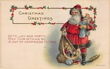 Christmas Postcard Santa Claus with Bag of Toys, Dolls, Ball, Horse, Boat~108993
