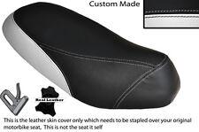 BLACK & WHITE CUSTOM FITS PIAGGIO SFERA 125 DUAL LEATHER SEAT COVER ONLY