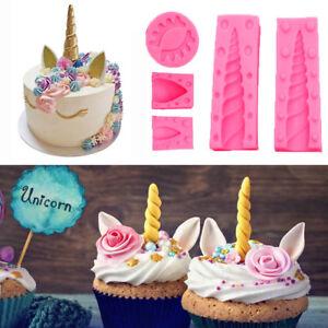 5Pcs 3D Unicorn Silicone Fondant Mold Cake Animals Head Horn Baking Icing Mould