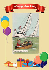 HAPPY BIRTHDAY GREETINGS CARD LOVELY COMIC FUNNY YACHT AND ROW BOAT