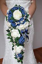 Excl. Brautstrauss Wasserfall, Rosen creme/blau, zum Brautkleid, Brautstrauß