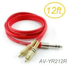 """12ft Flexible 1/4"""" TRS Stereo Male to 2-RCA (Left/Right) Male Red Audio Cable"""