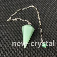 Chakra Crystal Quartz aventurine Pendant Reiki Pendulum Healing Dowsing Chains