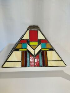 Preowned Stained Glass Lamp Shape American Southwest Mission Style Hanging Stand