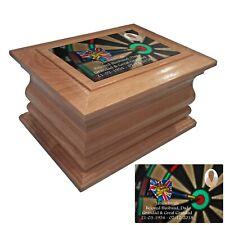 Wooden Cremation urn ashes casket darts personalised oak adult human cremation
