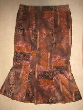 Feincord schmaler Bahnenrock, Glockenrock orange, braun ca. Gr. 46