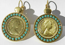 Queen British Elizabeth Coin Pound Gold 24k Plated Dangle Earrings Turquoise