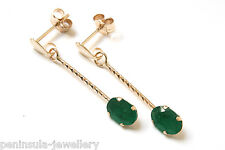 9ct Gold Emerald Drop earrings Made in UK Gift Boxed