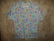CREST COTTONS FLOWERS, BUTTER FLIES, SCRUB TOP SIZE M (2 POCKETS) STYLE 9109