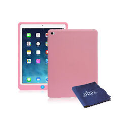 Silicone Rubber Shockproof Cover Case For iPad Air 2 + Microfiber Cloth Pink