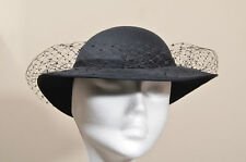 Vintage 50's style black hat with veil Goodwood revival Twinwood