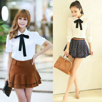 US Women Bow Tie Turn-down Collar Long/Short Sleeve School Girl Shirt Blouse Top