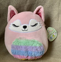 """Squishmallows 8"""" Alessi the Fox Rainbow Fuzzy Belly And Tail Plush NWT"""