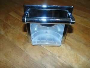Vintage Tub Shower Chrome Soap Dish Holder/w Tray Washcloth Holder Bar Inset MCM