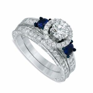 1.87 Ct Simulated Blue Sapphire 3-Stone Bridal Set Ring Solid 10K White Gold