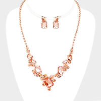 Peach gold tone necklace set sparkly diamante prom party jewellery evening 571