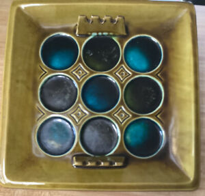 MCM  ASHTRAY Ceramic Pottery Teal Brown Blue  11x11 Decoration USA Marked A-50