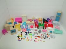 LARGE 140+ Piece Lot of DOLLHOUSE Furniture, Food, Dishes, Accessories +MORE